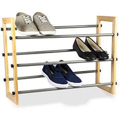 Sunbeam® 3-Tier Expandable Wood-Paneled Shoe Rack