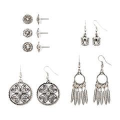 Arizona Clear Stone Textured Silver-Tone 6-pr. Earring Set