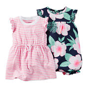 Carter's® 2-pk. Flutter-Sleeve Rompers - Baby Girls newborn-24m