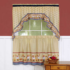 Cucina Print Rod-Pocket Window Tier and Swag Valance Set