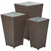 Small Medium And Large Rattan 3-pc. Outdoor Planter
