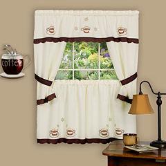 Cuppa Joe Embellished Cottage Rod-Pocket Window Tiers & Tailored Topper Set