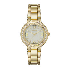 Geneva Womens Gold-Tone Twist Dial Watch