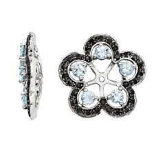 Heat-Treated Aquamarine and Genuine Black Sapphire Earring Jackets
