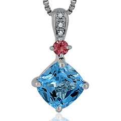 Genuine Swiss Blue Topaz, Pink Tourmaline & Diamond Accent Sterling Silver Pendant