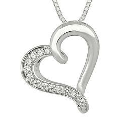 1/4 CT. T.W. Diamond Sterling Silver Heart Pendant Necklace
