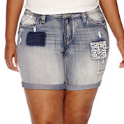 Love Indigo Patches and Crochet Bermuda Shorts - Plus