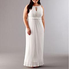 Melrose Sleeveless Keyhole Neck Beaded Evening Gown-Plus