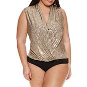 Bisou Bisou Sleeveless V Neck Bodysuit-Plus
