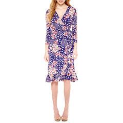 Weslee Rose 3/4 Sleeve Floral Wrap Dress