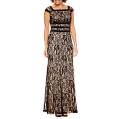 Melrose Short Sleeve Lace Evening Gown-Petites