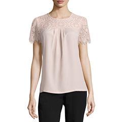 Worthington Short Sleeve Scoop Neck T-Shirt-Petites