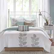 Madison Park Rochelle Embroidered Leaf 6-pc. Quilt Set