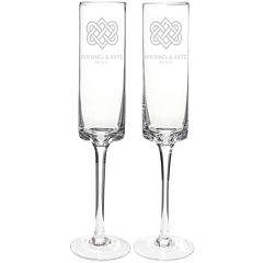 Cathy's Concepts Set of 2 Personalized Celtic Knot 8 oz. Contemporary Champagne Flutes