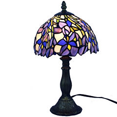 Amora Lighting AM1076TL08 Tiffany Style Iris TableLamp 15 Inches Tall