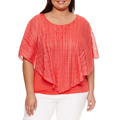 Alyx Short Sleeve Lace Overlay Blouse-Plus