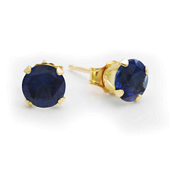 Lab-Created 6mm Sapphire 10K Yellow Gold Stud Earrings