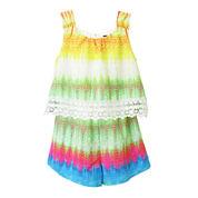 Lilt Sleeveless Ombré Tie-Dye Popover Romper - Preschool Girls 4-6x