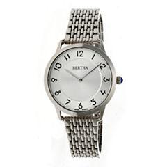 Bertha Abby Womens Silver Tone Bracelet Watch-Bthbr6801