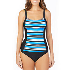 St. John's Bay ® Pacific Stripe Seamed Peasant Tankini or Brief Swimsuit Bottom