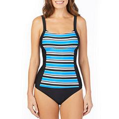 St. John's Bay ® Pacific Stripe Seamed Peasant Tankini or Brief Swimsuit Bottom