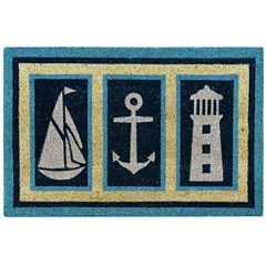 Better Trends Nautical Coir Printed Rectangular Doormat