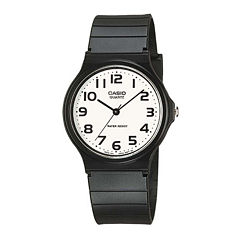 Casio® Mens White Dial Black Resin Strap Watch MQ24-7B2LLUB