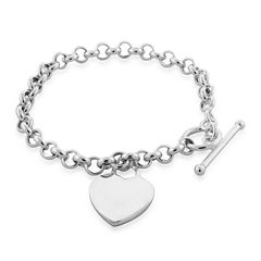 Sterling Silver Heart Tag Toggle Bracelet