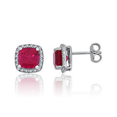 Lab-Created Ruby & White Sapphire Sterling Silver Halo Stud Earrings