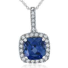 Lab-Created Blue & White Sapphire Sterling Silver Pendant