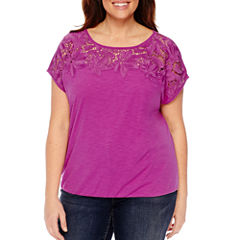 St. John's Bay Short Sleeve Round Neck T-Shirt-Plus