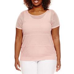Worthington® Short Sleeve Texture Sweater Shell - Plus