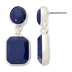 Liz Claiborne® Blue Stone Silver-Tone Double Drop Earrings