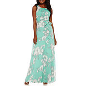 R&K Originals® Sleeveless Floral Print Chiffon Maxi Dress