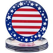 Certified International Stars & Stripes Set of 6 Melamine Dinner Plates