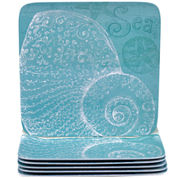 Certified International Aqua Treasures Set of 6 Melamine Dinner Plates