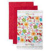 JCPenney Home™ Summer Time Set of 3 Kitchen Towels