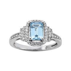 Genuine Aquamarine & Lab-Created White Sapphire Ring