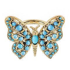 KJL by KENNETH JAY LANE Gold-Tone Aqua Butterfly Ring
