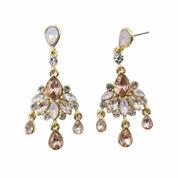 Vieste Rosa Pink Brass Chandelier Earrings