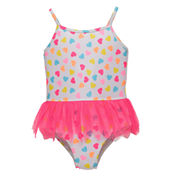 Candlesticks Heart Print One Piece Swimsuit-Baby