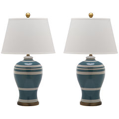 Safavieh Pottery Stripe Ginger Jar Lamp