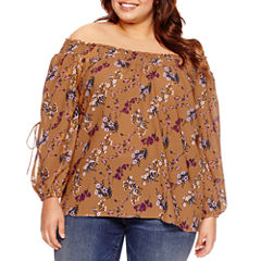Boutique + Long Sleeve Smocked Off the Shoulder Woven Blouse Plus