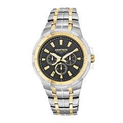 Armitron® Men's 5144 Black Dial Two-Tone Stainless Steel Watch