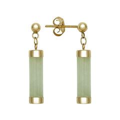 Genuine Jade 14K Yellow Gold Tube Earrings