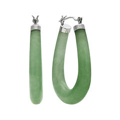 Genuine Jade Sterling Silver Hoop Earrings