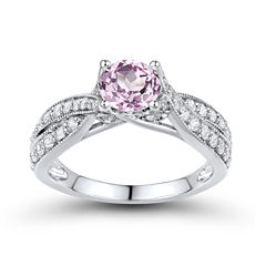 DiamonArt® Pink & White Cubic Zirconia Sterling Silver Bridal Ring