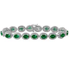 Womens Diamond Accent Green Emerald Sterling Silver Tennis Bracelet