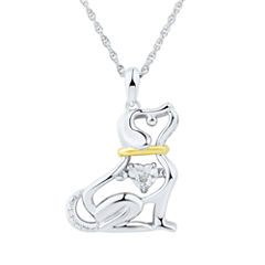 Love in Motion Diamond Accent Sterling Silver Dog Pendant Necklace