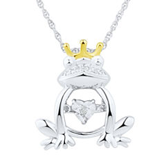 Love in Motion Diamond Accent Sterling Silver Frog Pendant Necklace